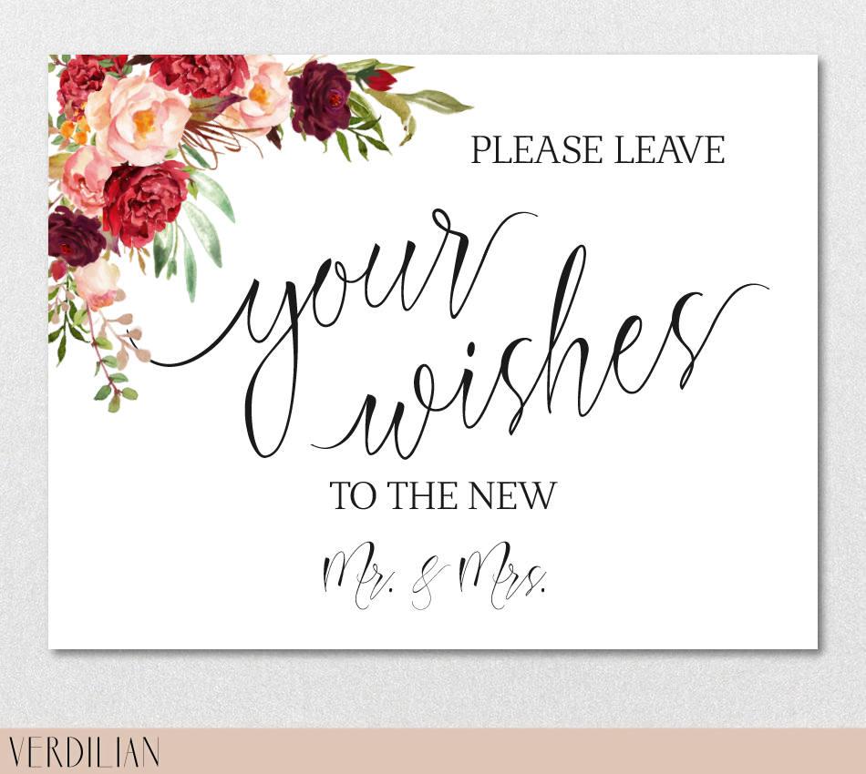 Candy Bar Sign Printable Template Wedding Table Bridal Burgundy
