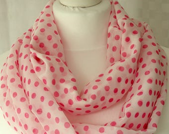 Polka dot infinity scarf, White and pink polka dot scarf, Dot print, scarf, Scarf for her, Lightweight scarf, Fashion scarf