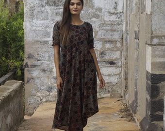 Ajrakh Block Printed Natural Dyed Asymmetric Cowl Dress