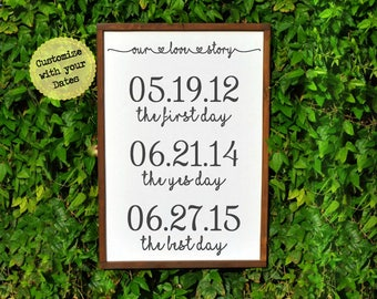 Our Love Story Sign, Personalized Wedding Gifts for Couple, Bridal Shower Gifts for Husband Gift for Bride and Groom gift, Engagement Gift