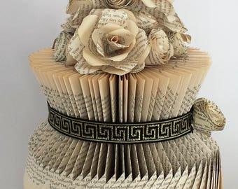 Flower vase-Book sculpture-Book folding art-Vase Book folding-Vase with flowers-Anniversary gift-Home decor-Wedding gift-Wedding decoration