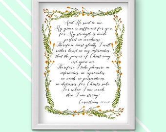 Corinthians 12:9-10, House Wall Print, 8x10, Wall Print, Printable Sign, House Decor Art, Instant Download, House Wall Printable
