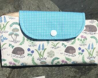 Hedgehog slim line wallet, women's wallet, bifold wallet, cotton wallet, handmade wallet,hedgehog