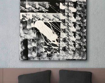 Black and white Abstract Painting Large Black&White Original wall art Textural square art gray painting white painting square art Minimalism