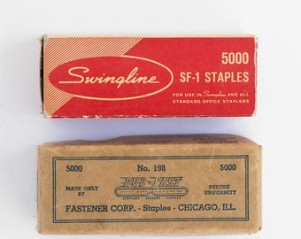 Vintage Staples / Vintage Office Supplies / Vintage Packaging Design / 50s Typography / Swingline Stapler Refill / Old Packaging Design