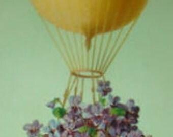 Beautiful Vintage Postcard (Hot Air Balloon, Purple Flowers)