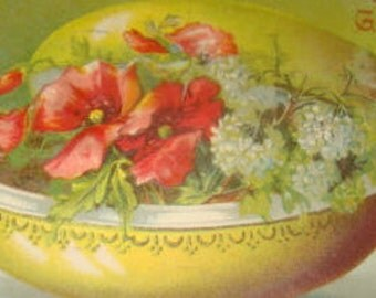 Pretty Vintage Easter/Floral Postcard (Egg and Flowers)