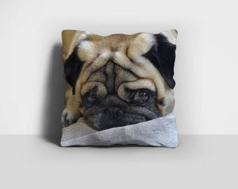 Pug Throw Pillow, Pug Pillow, Throw Pillow, Pug Dog Pillow, Dog Pillow, Home Decor, Decorative Pillow, Pillow Case, Pillow Cover