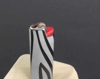 BIC Lighter Cover Etched Metal Zebra Print Design (many color choices)