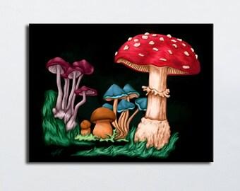 Mushrooms - amanita painting colors painting vivid black background - digital print - Limited Edition - canvas art geek gift