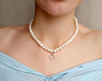 White pearl choker bridal pearl necklace Strand Pearl Choker wedding choker charm ivory necklace Freshwater Pearls Choker wedding jewelry