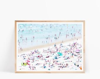 Beach Photo Wall Art, Beach Photo Print, Modern Contemporary, Ocean Printable Art, Beach Aerial, Beach People, Coastal Wall Art, Seascape