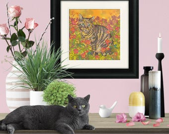 Framed and/or Mounted Tabby Cat Art Print, Tabby Cat Gift, Tabby Cat Print, Cat Lover Gift, 8 x 8/12 x 12/16 x 16 inches