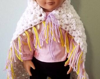 Unicorn doll blanket, 18 inch doll blanket, doll blanket