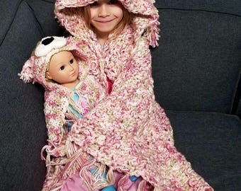 Puppy me and my doll blanket, doll and child blanket, matching blanket, dog blanket, hooded blanket