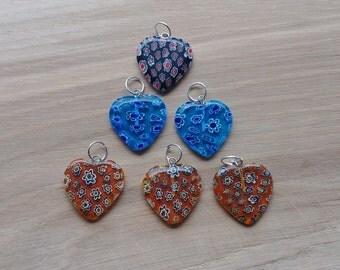 6 x Orange and Blue Glass Heart Pendants