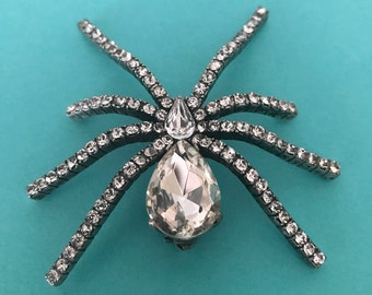 Large rhinestone spider brooch insect brooch bug brooch arachnoid brooch