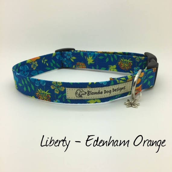 Liberty Dog Collar, Edenham Orange, Floral Dog Collar, Pretty Dog Collar, Dog Collar UK