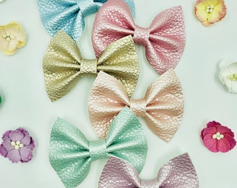 Leather Bow - Soft Faux leather - Baby Headband - Baby Bow - Pastel Colors