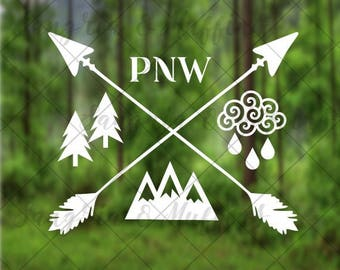 Pacific Northwest Pride with crossing arrows trees rain mountains - car, window, laptop, tablet decal - PNW love decal - PNW life decal