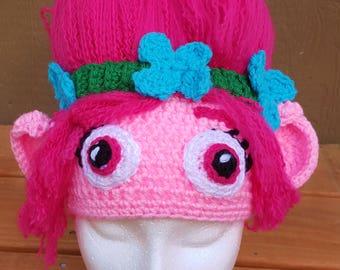 Poppy trolls hat, Poppy hat, Movie trolls hat, Pink trolls hat, crocheted poppy troll hat, toddler hats, Trolls, Girls hats, Handmade hats