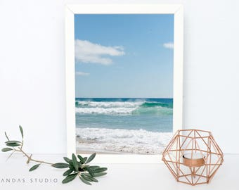 Printable Wall Art, Waves, Photography, INSTANT DOWNLOAD, Wall Decor, Beach, Photo, Print