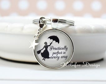 Mary Poppins key fob, practically perfect in every way, gift for her, Mary Poppins pendant