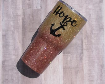 Rose Gold and Gold Ombre Glitter Tumbler - Glitter Tumbler - Rose Gold Tumbler - Ombre Tumbler - Rose Gold Yeti - Yeti - RTIC - Gold Tumbler