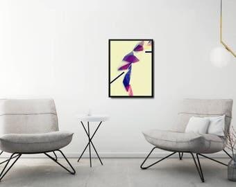 Modern Geometric Poster, Modern Yellow Art Print, Large Geometric Poster, Origami Art Print, Crystal Poster, Large Modern Living Room Poster