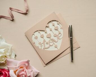 Love Heart Drop Papercut Valentine Card Hearts Rose Gold Greetings Card