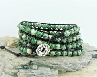 Jade Green Wrap Bracelet, Leather Bracelet,  Boho Chic Bracelet, Ching Hai jade Gemstone Jewelry, Bohemian Bracelet, Beaded Leather Wrap