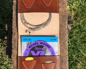 Leather Guitar Strings & Picks Wallet - Guitar Strings and Picks Pouch