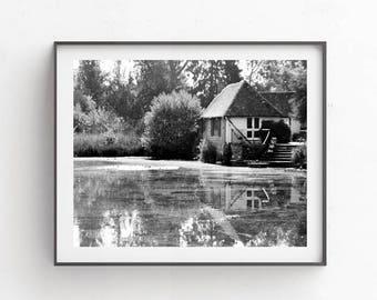 Black white prints - pictures 8x10 - Printable photography - Cottage decor - Farmhouse wall art, Village landscape, picture, poster, decor