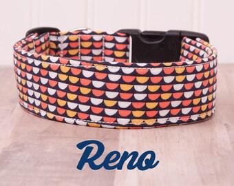 "Orange, Yellow and White Geometric Aztec Boho Dog Collar ""Reno"""