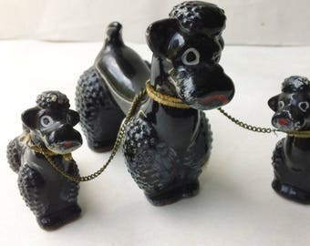 Mid Century Mod Trio Black Poodles Glazed Ceramic Figurines