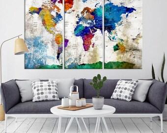 Large Wall Art Push Pin World Map, Push Pin, World Map, Wall Art Canvas, Push Pin Map, Navy Blue Wall Art, Pushpin World Map Print,