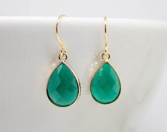 Earrings Gold-plated drop green emerald