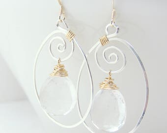 Sterling silver and 14k gold-filled, Quartz Earrings, wire wrapped