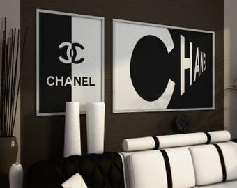 Coco Chanel prints. Fashion set, Coco Chanel logo, Chanel style. Coco Chanel wall art, Chanel sign. Fashion Prints Set. Coco Chanel Decor.