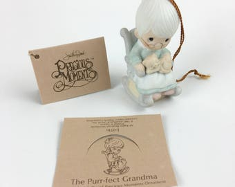 Vintage Precious Moments The Purr-Feat Grandma Miniature Ornamant Figurine E-0516