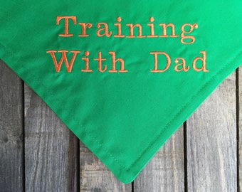 Training With Dad Over The Collar, New Year's Resolution Dog Bandana
