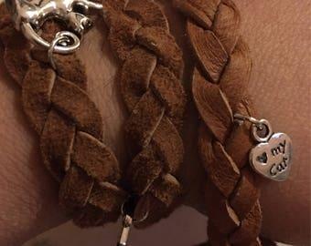 Cat themed charm leather wrap bracelet