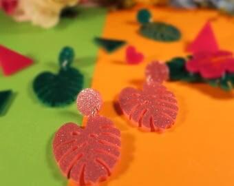 Pink Monstera Palm Leaf Earrings - laser cut glitter acrylic