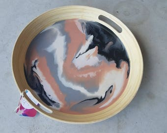 Resin and bamboo serving tray in pink, black and gray