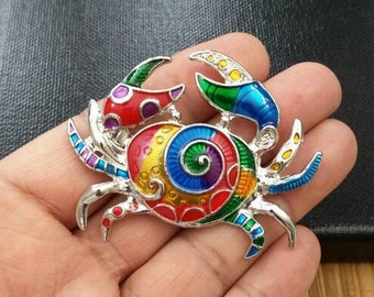 Beautiful Crab Charm Silver Multicolor Enamel Crab Pendant DIY Findings Jewelry Making Supply Boho Crab Charm For Long Sweater Necklaces.