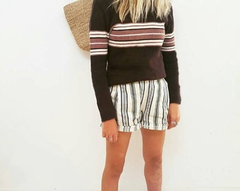Vintage 90's Sweater // Brown and Cream Striped 70's Turtle Neck Jumper // Wool Cotton Womens Size 8