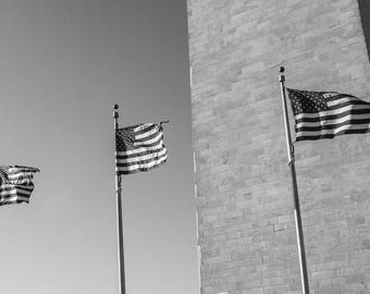 Photo of Flags in the Wind, Black and White, Washington Monument, Patriotic Photography Print, Black and White Photography
