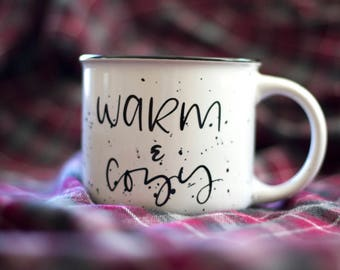 Warm and Cozy Camp Mug - White or Black | Campfire Stoneware 13 oz Mugs | Hot Chocolate | Summertime | Camping | Coffee | Adventure | Fall