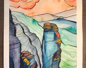 Original Drawing Watercolor Rock