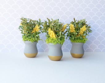 1:12 Scale Miniature Dollhouse Gray/Gold Planter with Moss/Yellow Summer Blooms